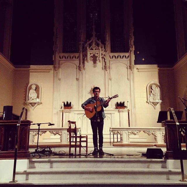 Tommy P. at the Sunday Night Mic at Saint Lukes Episcopal Church | photo by Mario Di Sandro