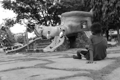 Children playing in the park in the town centre   Another personal favourite. It shows the socio-economic status in the Philippines.